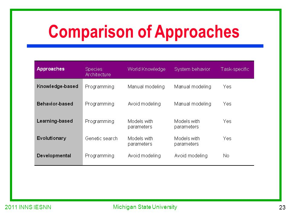 2011 INNS IESNN 23 Michigan State University Comparison of Approaches