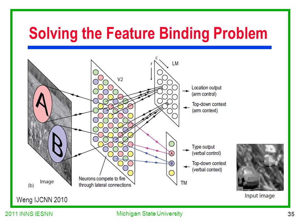 2011 INNS IESNN 35 Michigan State University Solving the Feature Binding Problem Weng IJCNN 2010