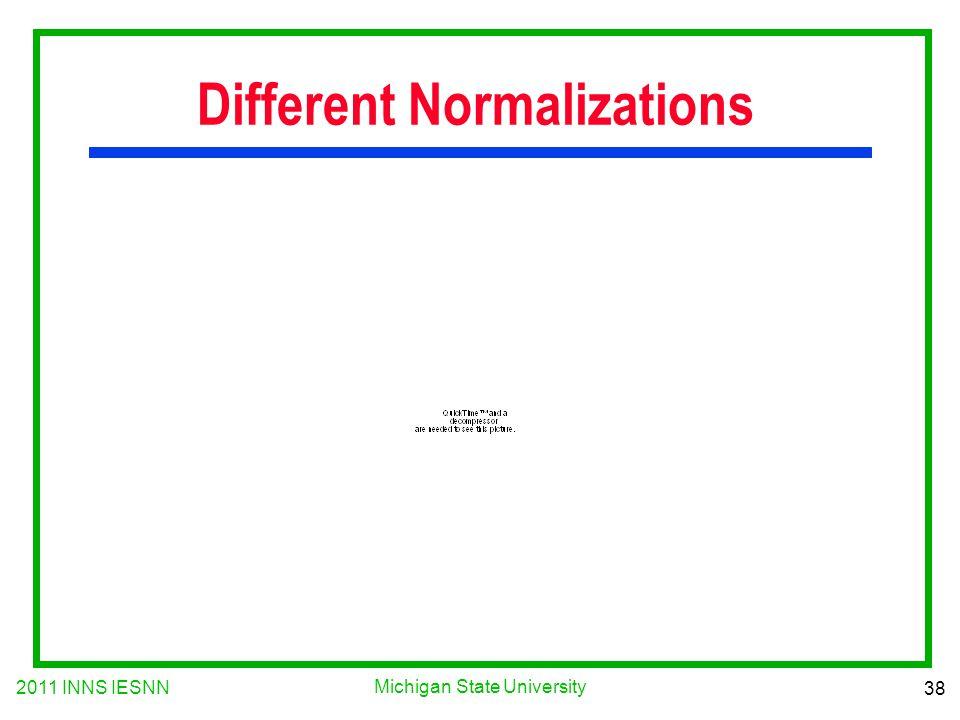 2011 INNS IESNN 38 Michigan State University Different Normalizations