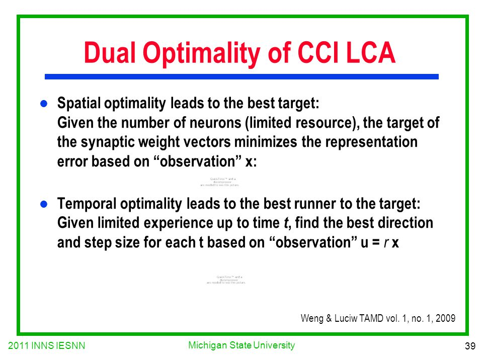 2011 INNS IESNN 39 Michigan State University Dual Optimality of CCI LCA l Spatial optimality leads to the best target: Given the number of neurons (li