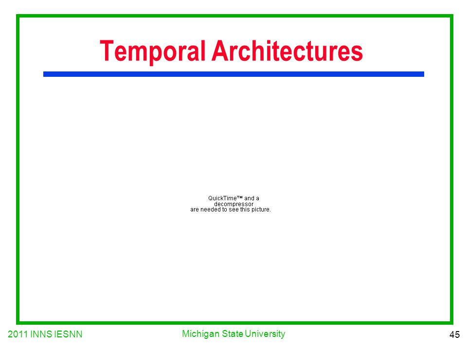 2011 INNS IESNN 45 Michigan State University Temporal Architectures