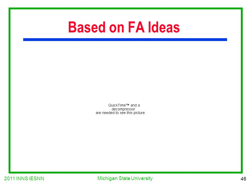 2011 INNS IESNN 46 Michigan State University Based on FA Ideas