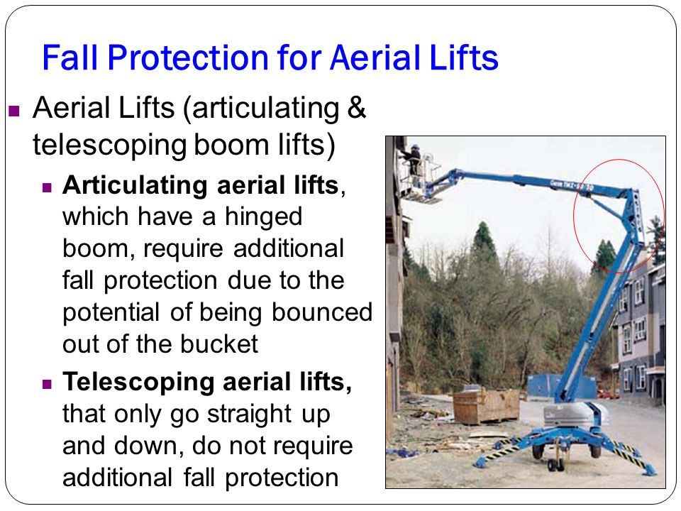 Fall Protection for Aerial Lifts Aerial Lifts (articulating & telescoping boom lifts) Articulating aerial lifts, which have a hinged boom, require add