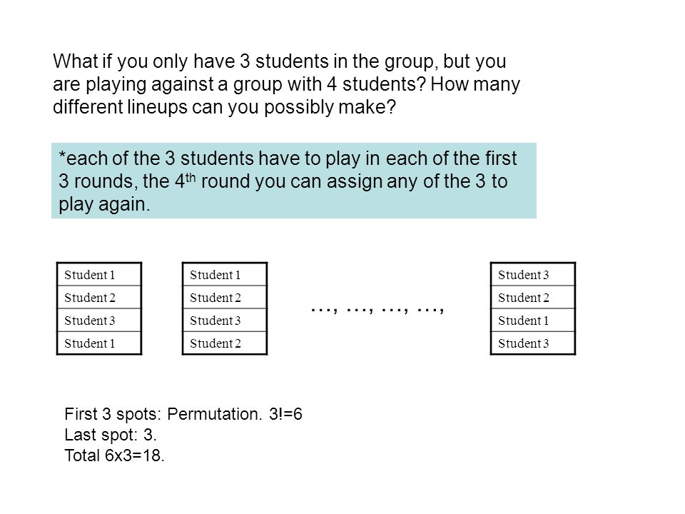 What if you only have 3 students in the group, but you are playing against a group with 4 students? How many different lineups can you possibly make?