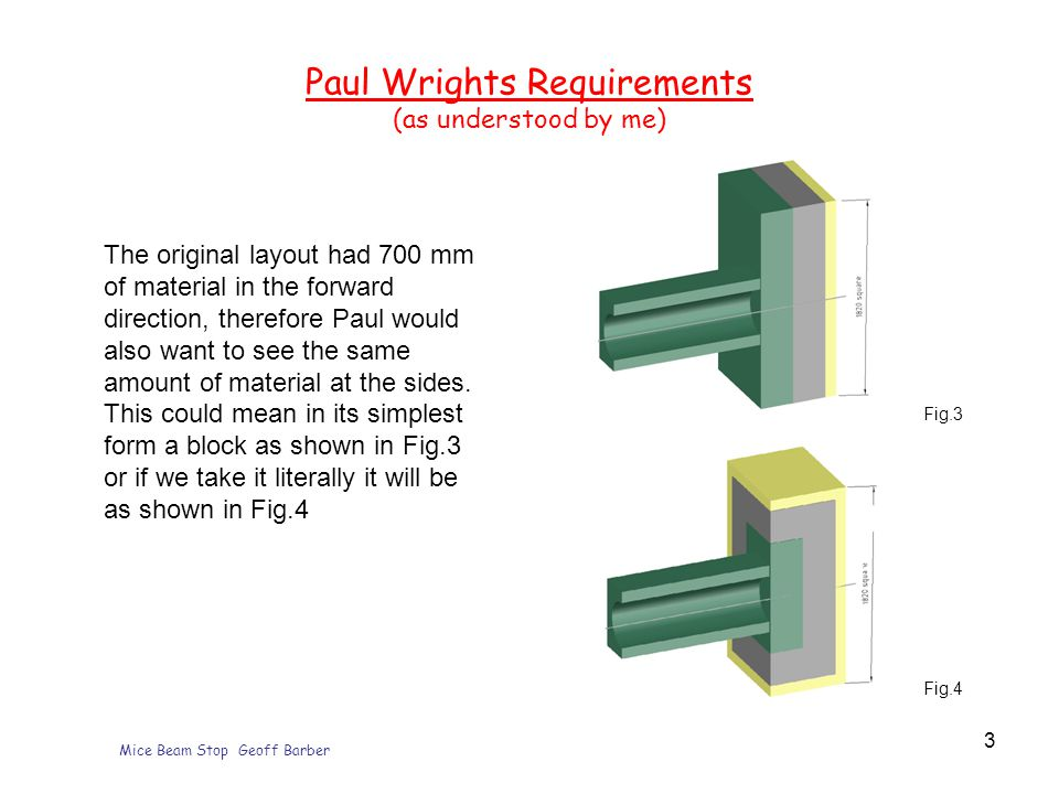 Mice Beam Stop Geoff Barber 3 Paul Wrights Requirements (as understood by me) The original layout had 700 mm of material in the forward direction, therefore Paul would also want to see the same amount of material at the sides.