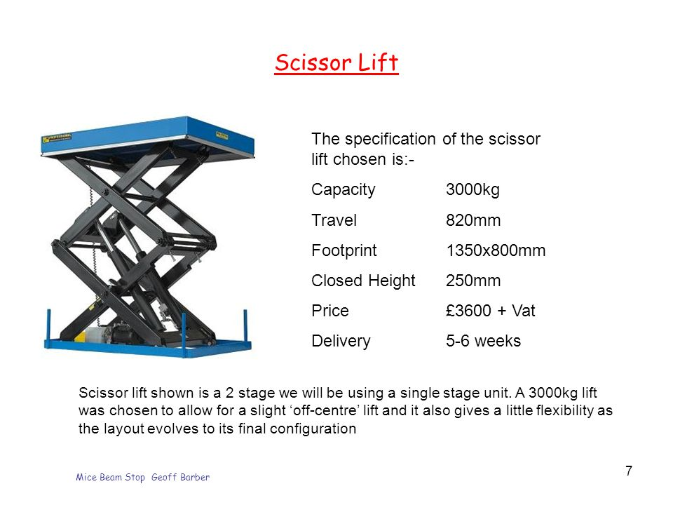 Mice Beam Stop Geoff Barber 7 Scissor Lift The specification of the scissor lift chosen is:- Capacity 3000kg Travel820mm Footprint1350x800mm Closed Height250mm Price£3600 + Vat Delivery5-6 weeks Scissor lift shown is a 2 stage we will be using a single stage unit.