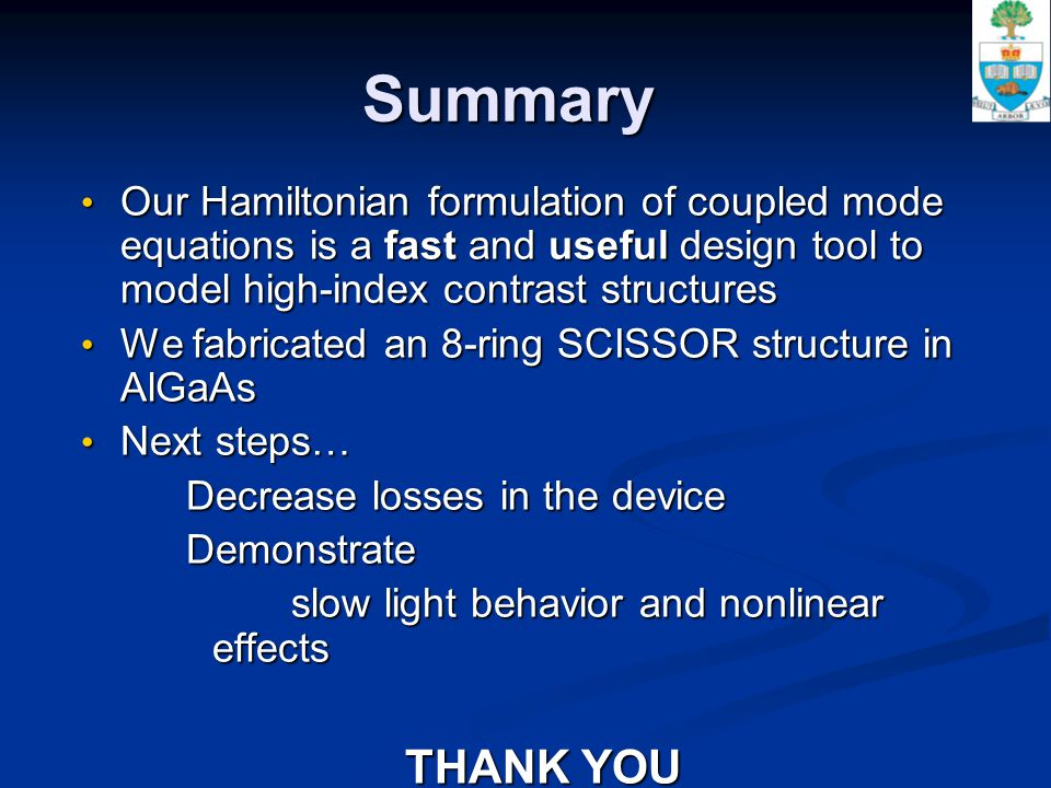 Summary Our Hamiltonian formulation of coupled mode equations is a fast and useful design tool to model high-index contrast structures Our Hamiltonian formulation of coupled mode equations is a fast and useful design tool to model high-index contrast structures We fabricated an 8-ring SCISSOR structure in AlGaAs We fabricated an 8-ring SCISSOR structure in AlGaAs Next steps… Next steps… Decrease losses in the device Demonstrate slow light behavior and nonlinear effects THANK YOU