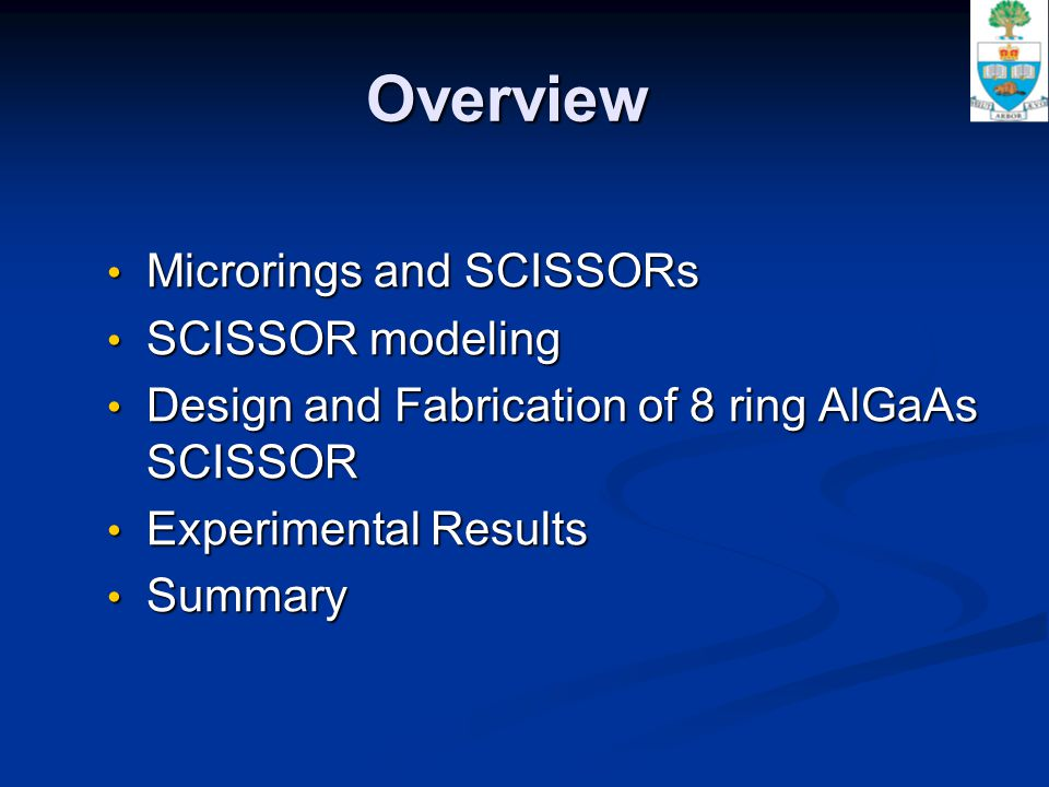 Overview Microrings and SCISSORs Microrings and SCISSORs SCISSOR modeling SCISSOR modeling Design and Fabrication of 8 ring AlGaAs SCISSOR Design and