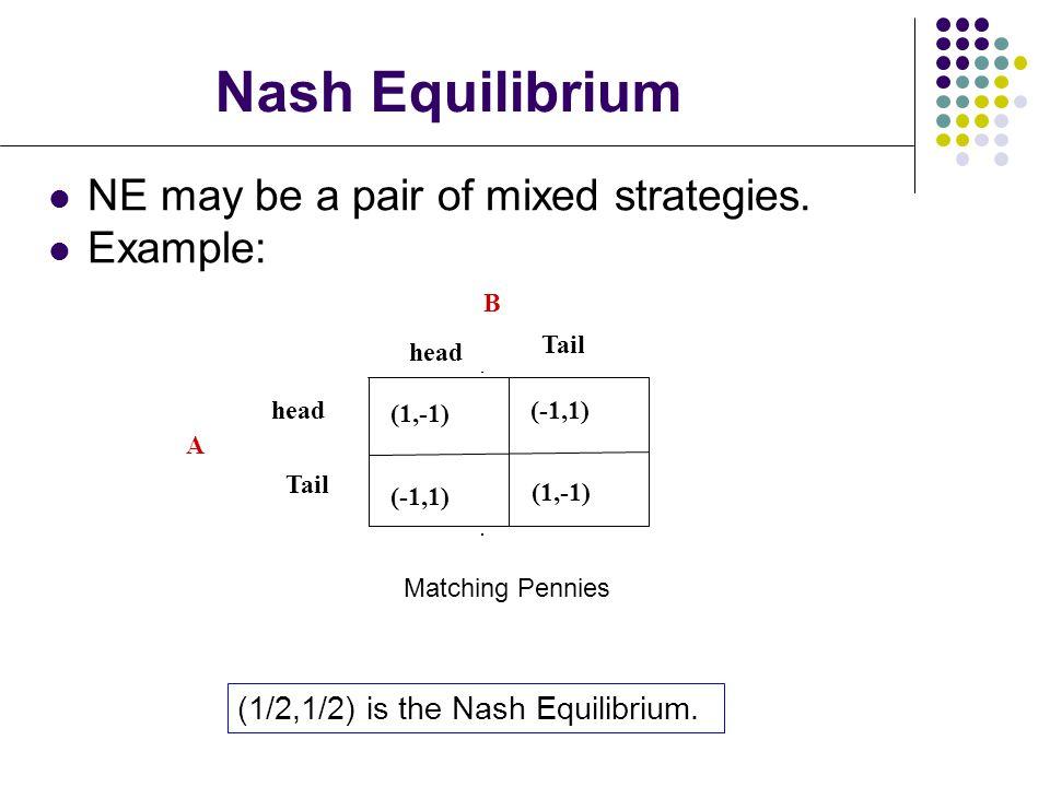 Nash Equilibrium NE may be a pair of mixed strategies.