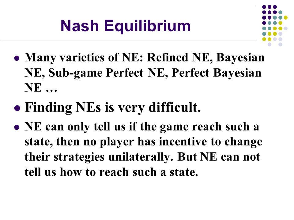 Nash Equilibrium Many varieties of NE: Refined NE, Bayesian NE, Sub-game Perfect NE, Perfect Bayesian NE … Finding NEs is very difficult.
