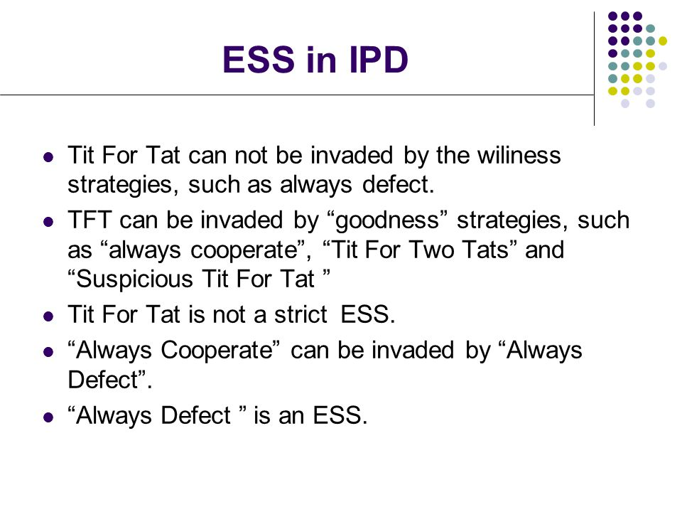 ESS in IPD Tit For Tat can not be invaded by the wiliness strategies, such as always defect.