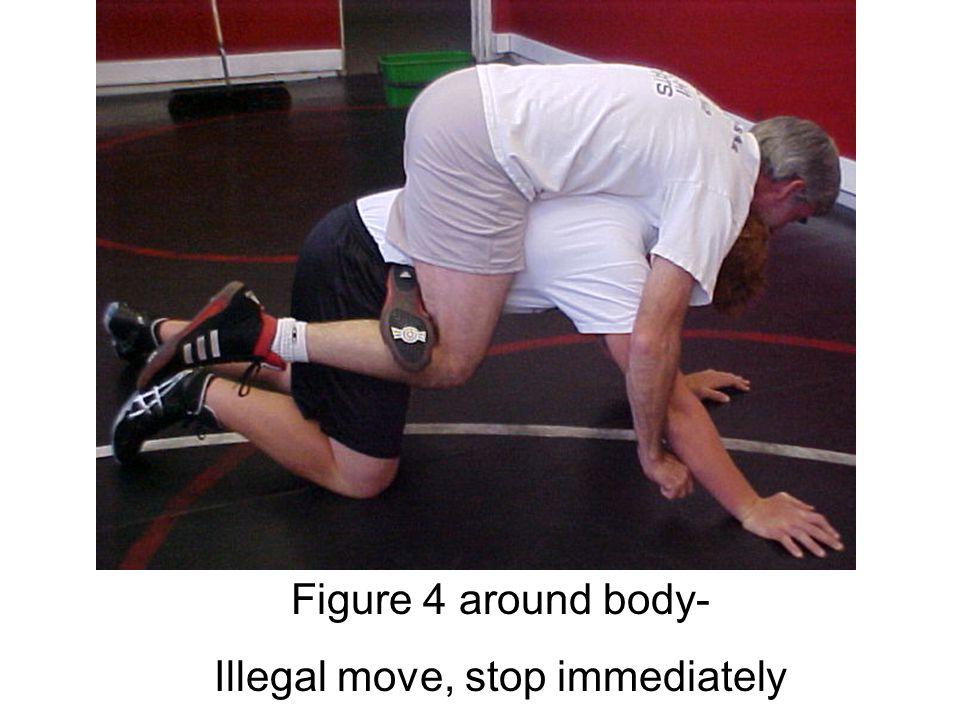 Figure 4 around both legs- Illegal hold, stop immediately