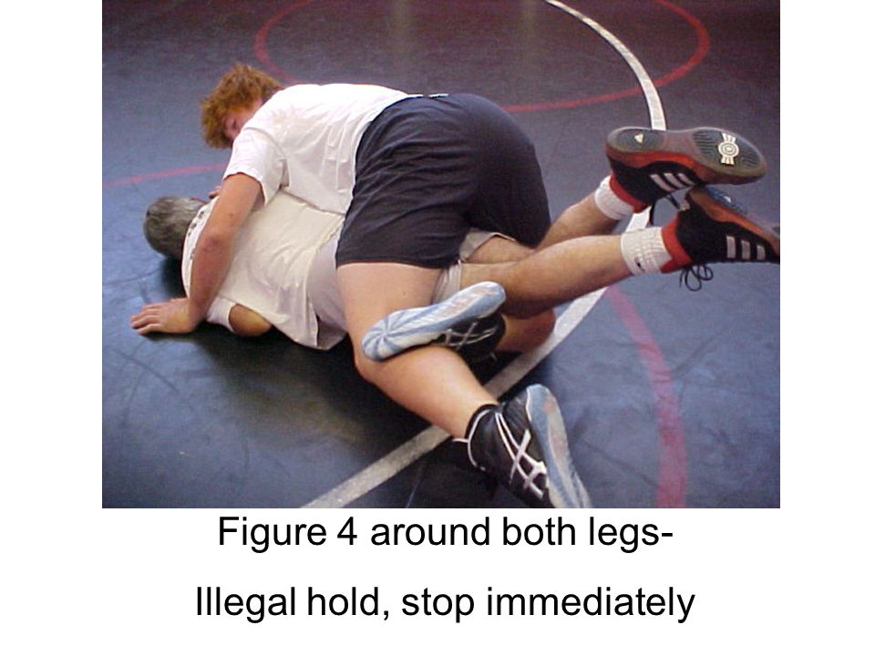 Figure 4 around both legs- Illegal hold, stop immediately