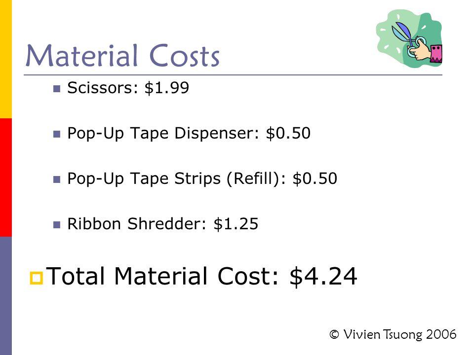 Material Costs Scissors: $1.99 Pop-Up Tape Dispenser: $0.50 Pop-Up Tape Strips (Refill): $0.50 Ribbon Shredder: $1.25  Total Material Cost: $4.24 © V