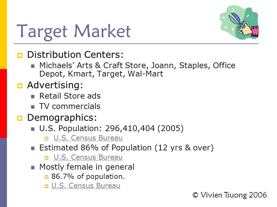 Target Market  Distribution Centers: Michaels' Arts & Craft Store, Joann, Staples, Office Depot, Kmart, Target, Wal-Mart  Advertising: Retail Store