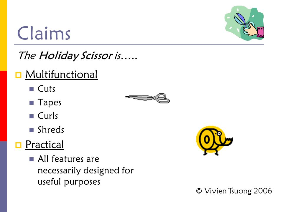 Claims  Multifunctional Cuts Tapes Curls Shreds  Practical All features are necessarily designed for useful purposes The Holiday Scissor is….. © Viv