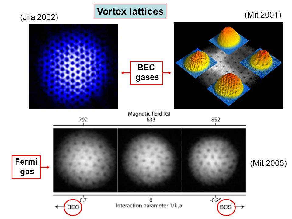 Vortex lattices (Mit 2001) (Jila 2002) BEC gases (Mit 2005) Fermi gas