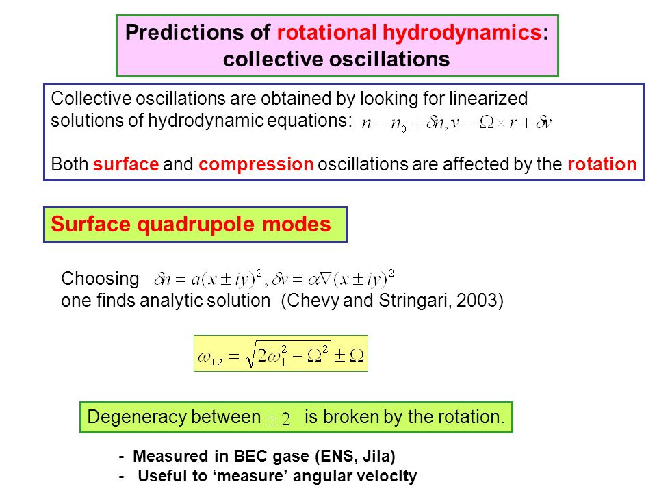 Predictions of rotational hydrodynamics: collective oscillations Collective oscillations are obtained by looking for linearized solutions of hydrodyna