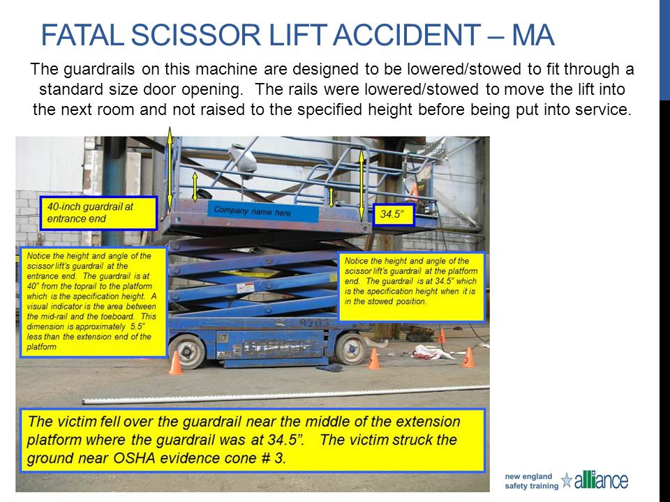 FATAL SCISSOR LIFT ACCIDENT – MA The guardrails on this machine are designed to be lowered/stowed to fit through a standard size door opening. The rai