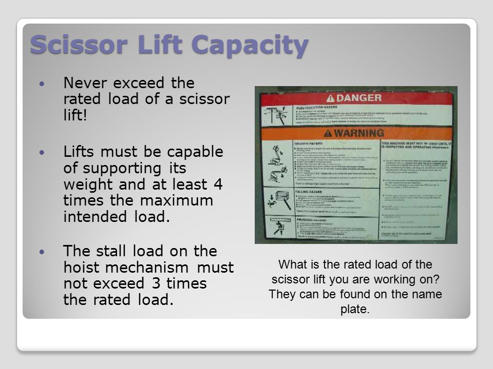User Manuals Workers must review the scissor lift user manuals before using the scissor lift for the first time.