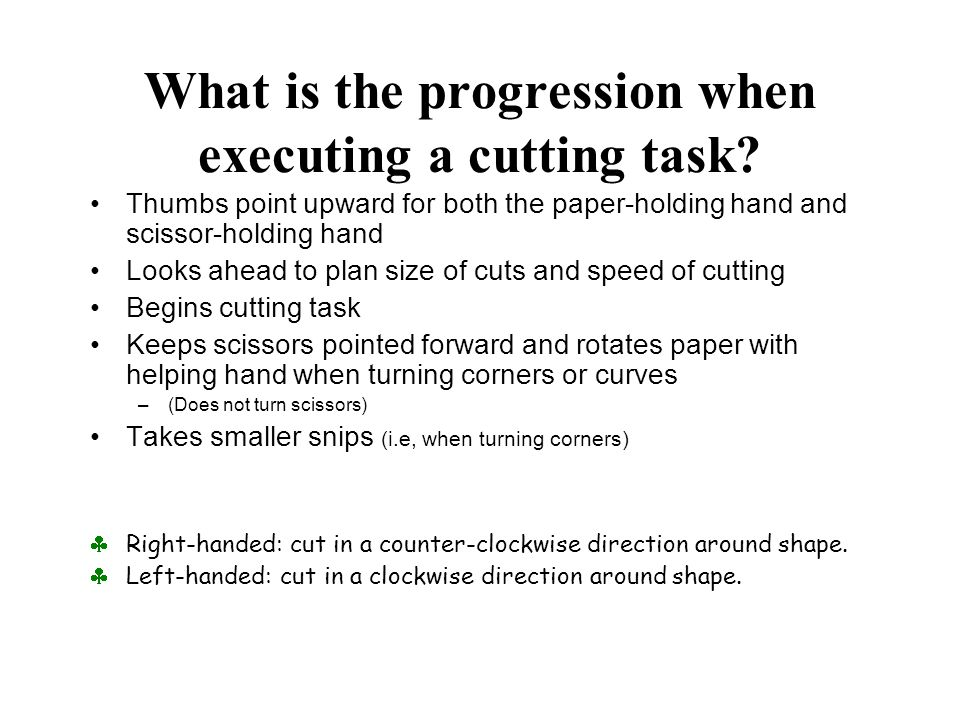 What is the progression when executing a cutting task.