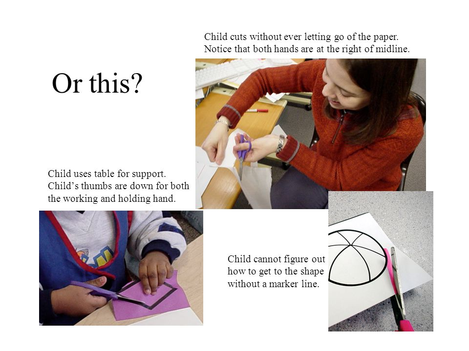 Child uses table for support. Child's thumbs are down for both the working and holding hand.
