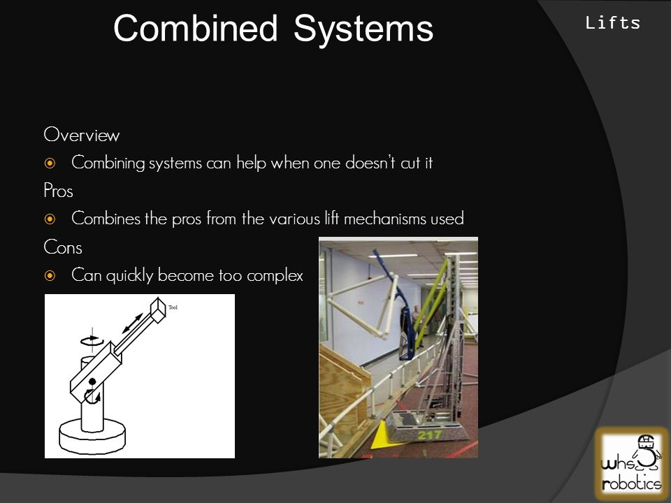 Overview  Combining systems can help when one doesn't cut it Pros  Combines the pros from the various lift mechanisms used Cons  Can quickly become too complex Combined Systems Lifts