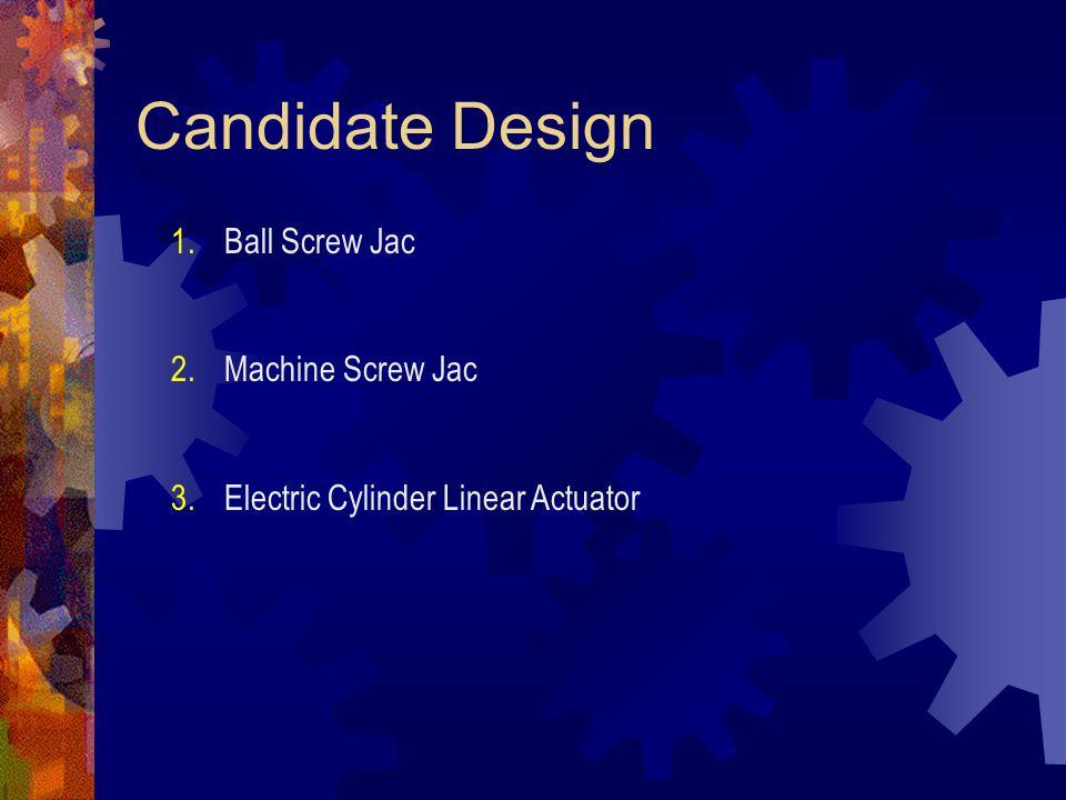 Candidate Design 1.Ball Screw Jac 2.Machine Screw Jac 3.Electric Cylinder Linear Actuator