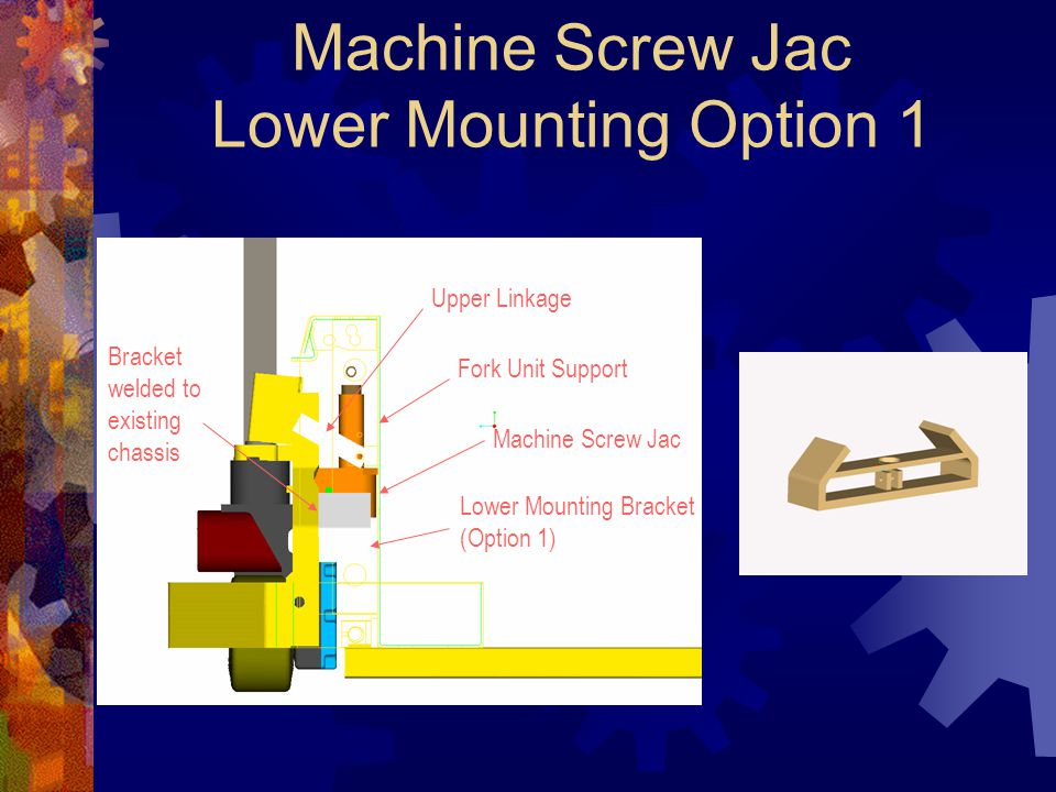 Machine Screw Jac Lower Mounting Option 1 Upper Linkage Fork Unit Support Machine Screw Jac Lower Mounting Bracket (Option 1) Bracket welded to existing chassis
