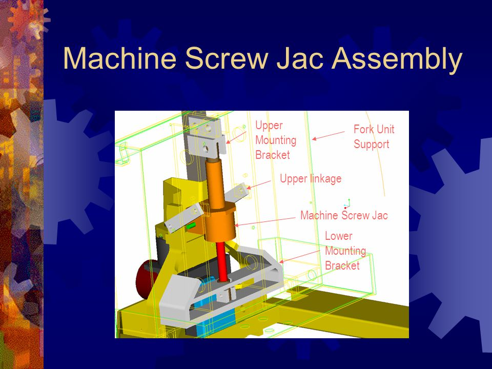 Machine Screw Jac Assembly Upper linkage Fork Unit Support Machine Screw Jac Upper Mounting Bracket Lower Mounting Bracket