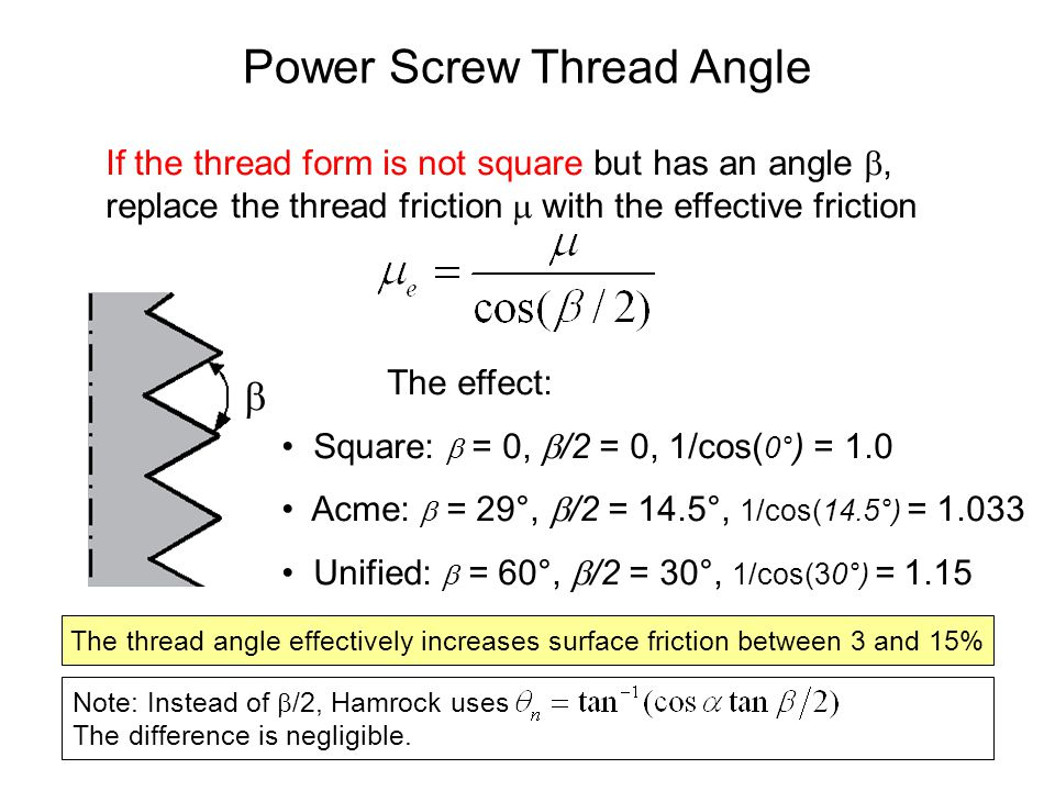 Power Screws - Overhauling If the collar friction is small (e.g., it may have a ball thrust bearing), too small a thread friction may let the weight screw down on its own.