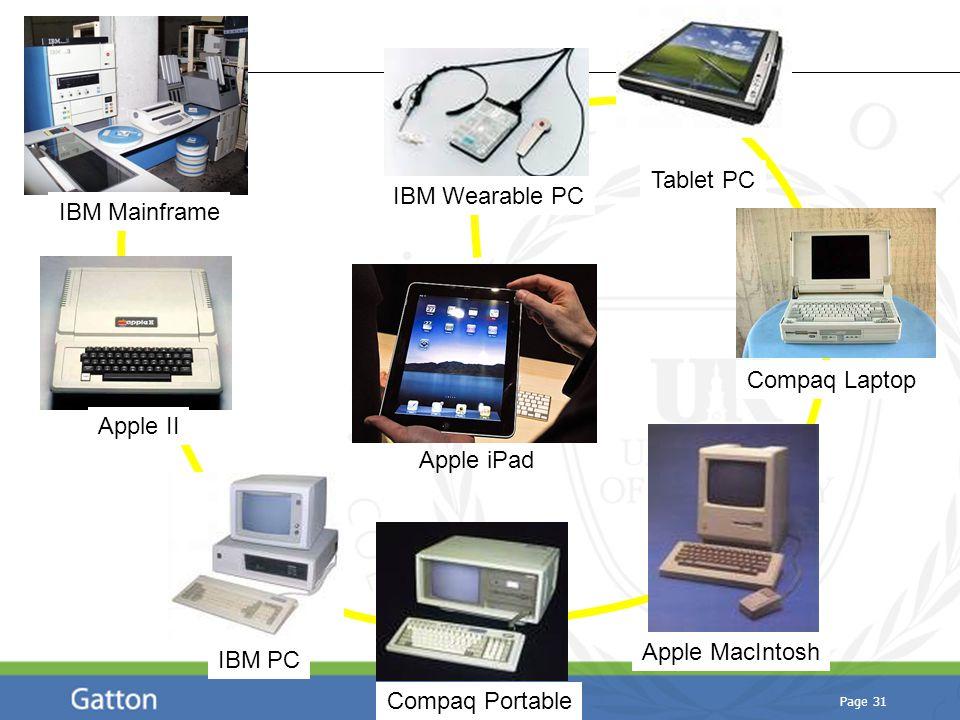Page 31 IBM Mainframe Apple II IBM PC Apple MacIntosh Compaq Portable Tablet PC Compaq Laptop Apple iPad IBM Wearable PC