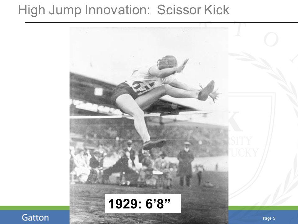 Page 5 High Jump Innovation: Scissor Kick 1929: 6'8