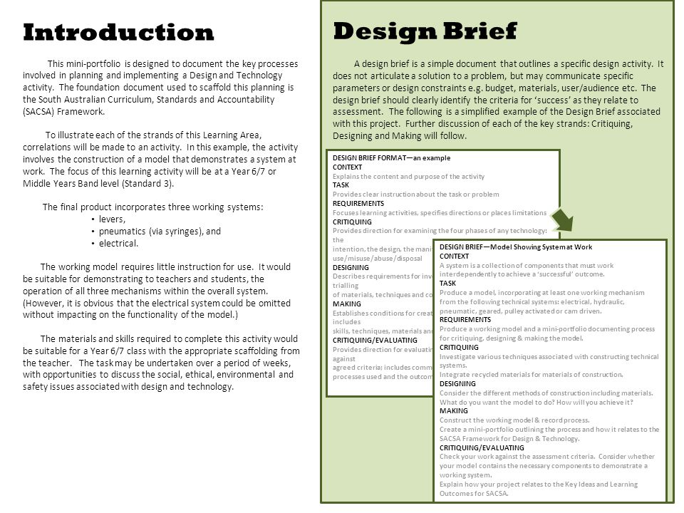 Introduction This mini-portfolio is designed to document the key processes involved in planning and implementing a Design and Technology activity.