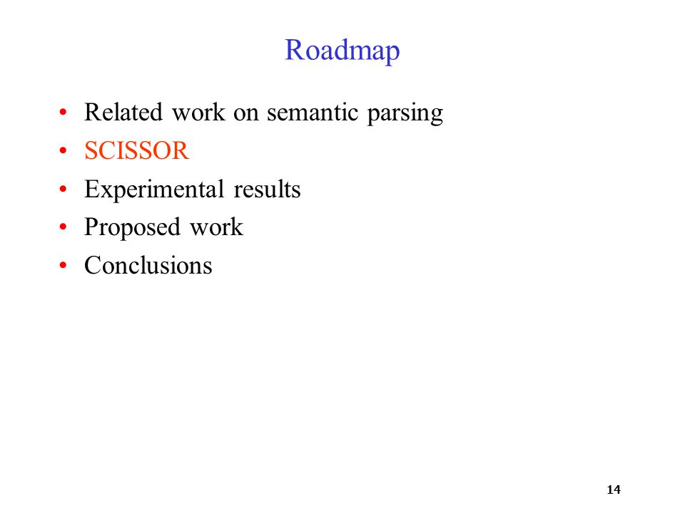 14 Roadmap Related work on semantic parsing SCISSOR Experimental results Proposed work Conclusions