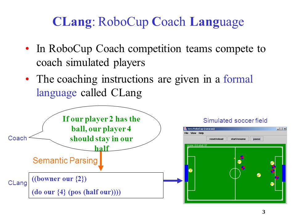 3 CLang: RoboCup Coach Language In RoboCup Coach competition teams compete to coach simulated players The coaching instructions are given in a formal language called CLang Simulated soccer field Coach CLang If our player 2 has the ball, our player 4 should stay in our half ((bowner our {2}) (do our {4} (pos (half our)))) Semantic Parsing