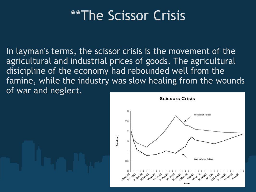 **The Scissor Crisis In layman s terms, the scissor crisis is the movement of the agricultural and industrial prices of goods.