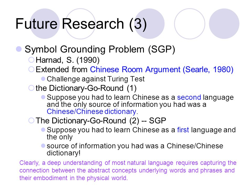 Future Research (3) Symbol Grounding Problem (SGP)  Harnad, S.