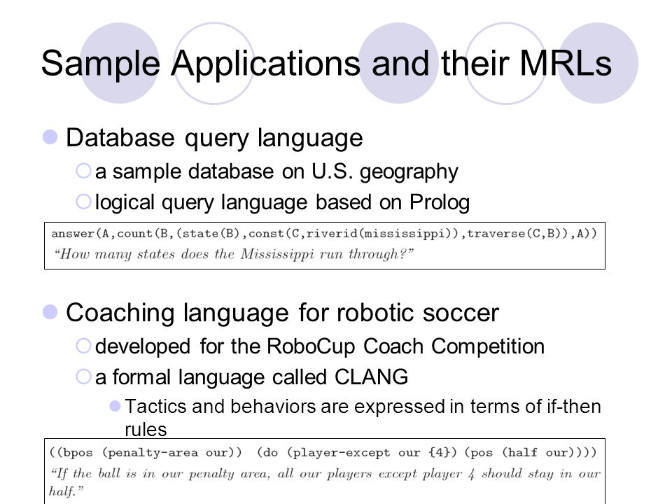 Sample Applications and their MRLs Database query language  a sample database on U.S.