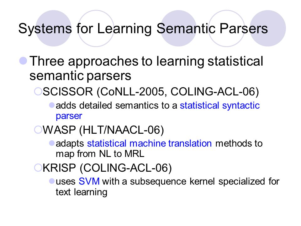 Systems for Learning Semantic Parsers Three approaches to learning statistical semantic parsers  SCISSOR (CoNLL-2005, COLING-ACL-06) adds detailed semantics to a statistical syntactic parser  WASP (HLT/NAACL-06) adapts statistical machine translation methods to map from NL to MRL  KRISP (COLING-ACL-06) uses SVM with a subsequence kernel specialized for text learning