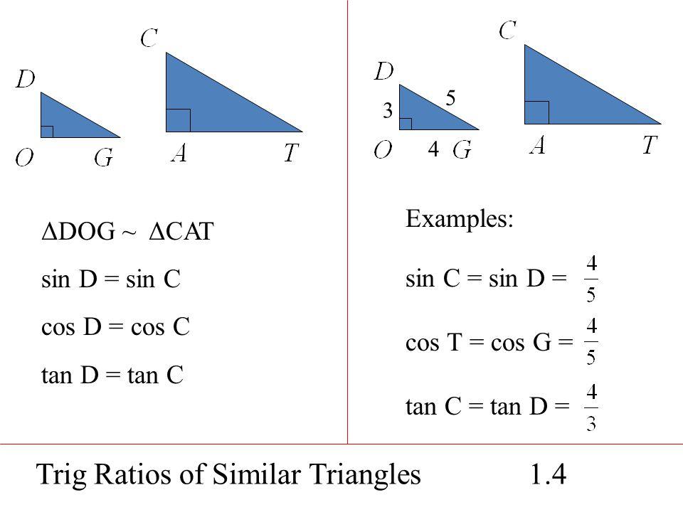Trig Ratios of Similar Triangles 1.4 ΔDOG ~ ΔCAT sin D = sin C cos D = cos C tan D = tan C Examples: sin C = sin D = cos T = cos G = tan C = tan D = 3 4 5