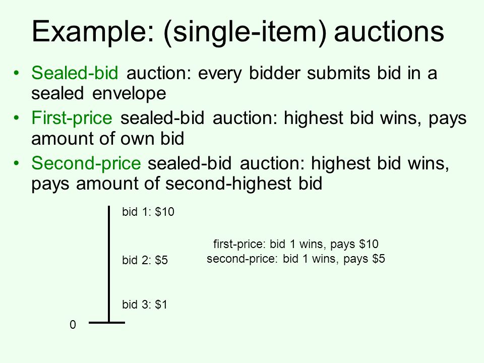 Example: (single-item) auctions Sealed-bid auction: every bidder submits bid in a sealed envelope First-price sealed-bid auction: highest bid wins, pays amount of own bid Second-price sealed-bid auction: highest bid wins, pays amount of second-highest bid 0 bid 1: $10 bid 2: $5 bid 3: $1 first-price: bid 1 wins, pays $10 second-price: bid 1 wins, pays $5