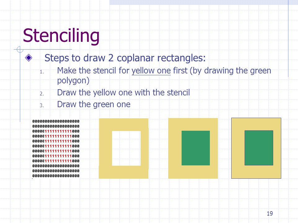 19 Stenciling Steps to draw 2 coplanar rectangles: 1. Make the stencil for yellow one first (by drawing the green polygon) 2. Draw the yellow one with