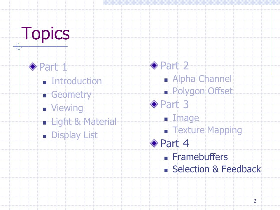 2 Topics Part 1 Introduction Geometry Viewing Light & Material Display List Part 2 Alpha Channel Polygon Offset Part 3 Image Texture Mapping Part 4 Fr