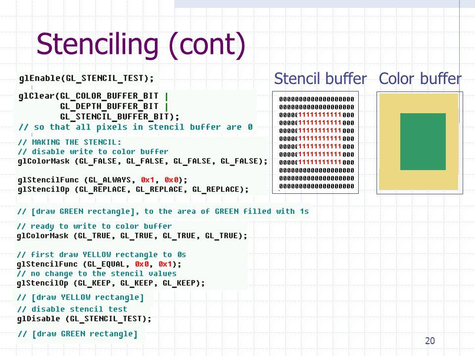 20 Stenciling (cont) Stencil bufferColor buffer