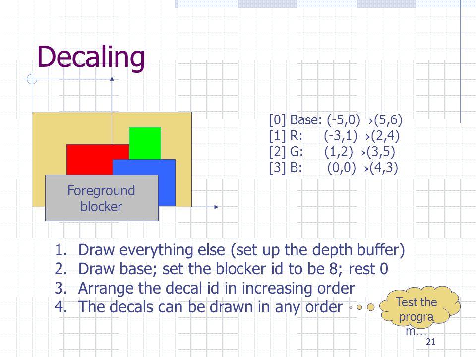 21 Decaling [0] Base: (-5,0)  (5,6) [1] R: (-3,1)  (2,4) [2] G: (1,2)  (3,5) [3] B: (0,0)  (4,3) Foreground blocker 1.Draw everything else (set up