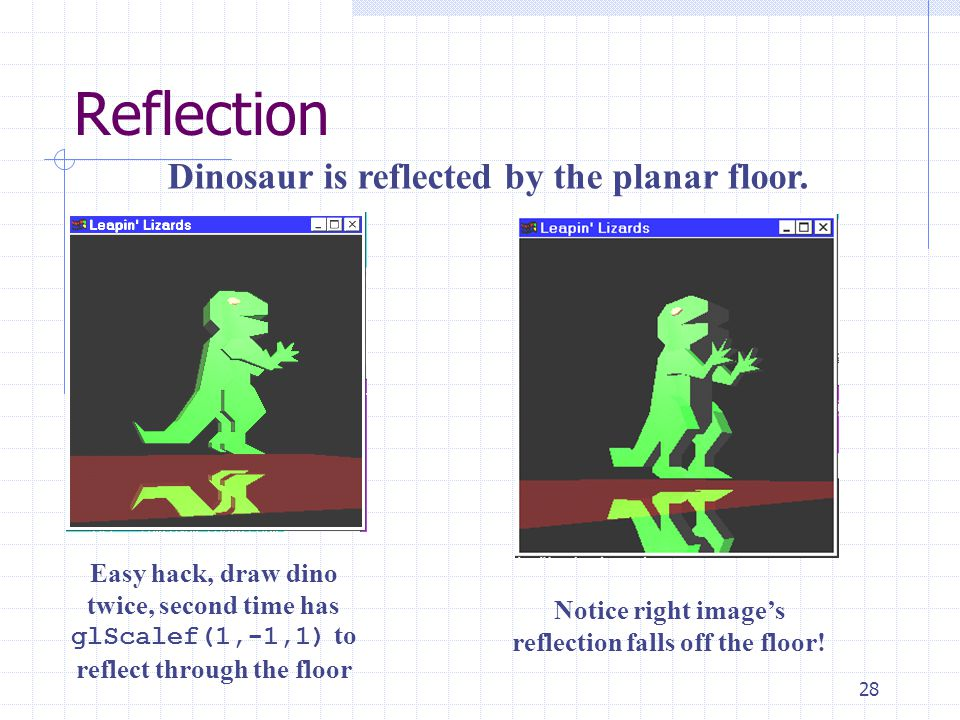 28 Reflection Easy hack, draw dino twice, second time has glScalef(1,-1,1) to reflect through the floor Dinosaur is reflected by the planar floor. Not