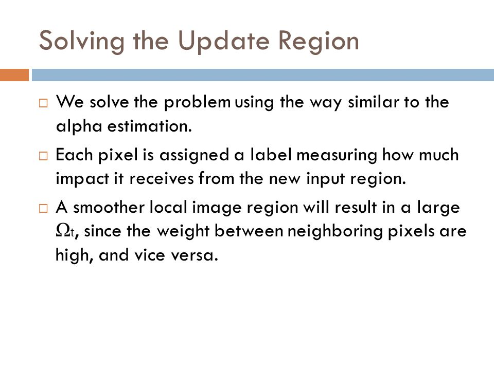 Solving the Update Region  We solve the problem using the way similar to the alpha estimation.