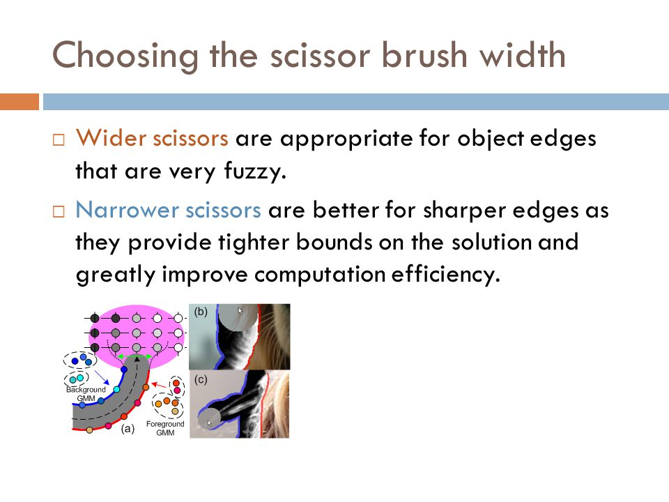 Choosing the scissor brush width  Wider scissors are appropriate for object edges that are very fuzzy.