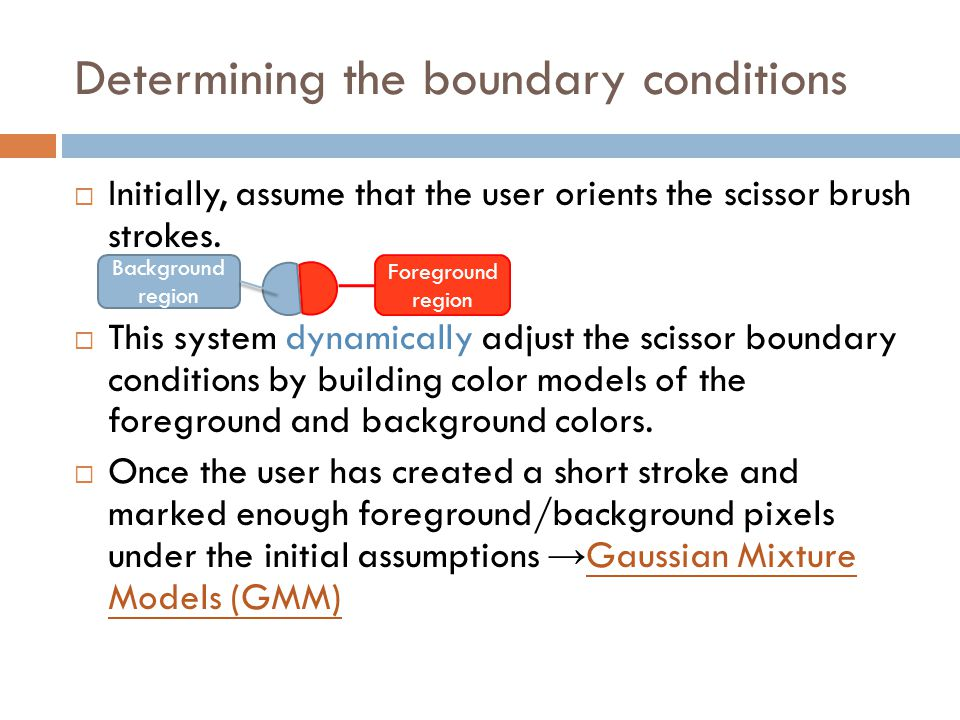 Determining the boundary conditions  Initially, assume that the user orients the scissor brush strokes.